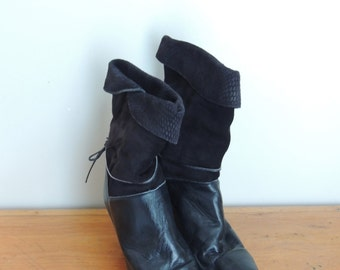 vintage 80's suede and leather slouch boots// size 10