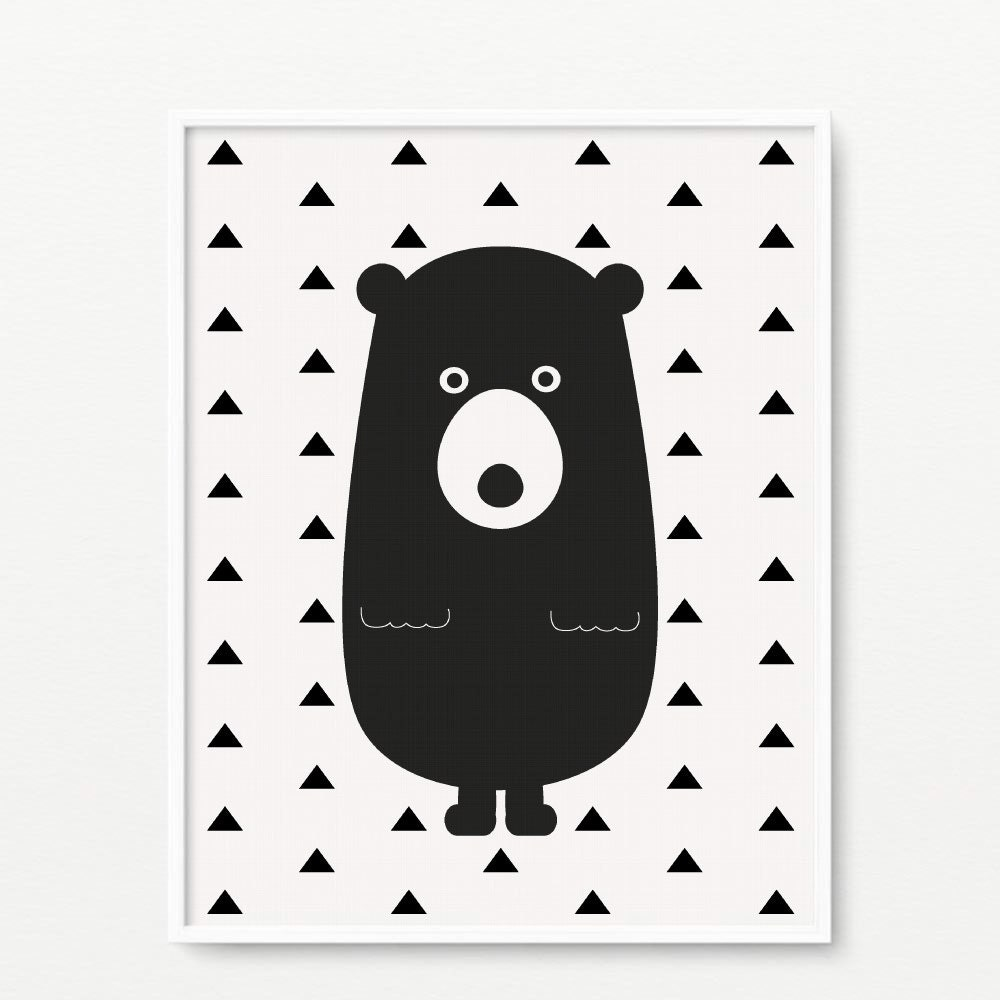 bear giclee print black and white wall art wall art. Black Bedroom Furniture Sets. Home Design Ideas
