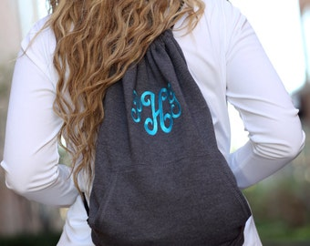 Monogrammed Backpack - Monogrammed Cinch Bag - Monogrammed Sweatshirt Bag