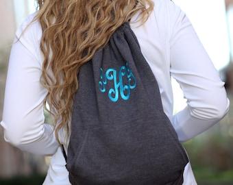 Monogrammed Backpack - Monogrammed Cinch Bag - Monogrammed Sweatshirt Bag