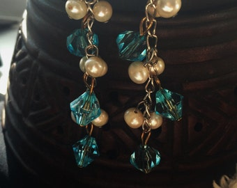 Silver Blue and Pearl Dangle Earrings with French Hooks