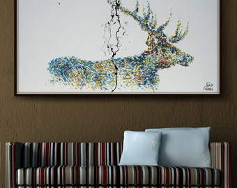 "Painting Animal STAG deer 60"" Original oil painting on canvas, thick oil layers, Luxury looks, Express shipping, By Koby Feldmos"