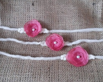 RTS tie back pink flower and white , for baby newborn sitter or toddler, photo prop