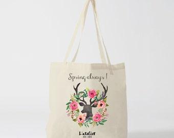 Tote bag Always spring, tote bag spring tote bag deer, tote bag for courses, shopping bag, cotton bag, bag, bag graphics