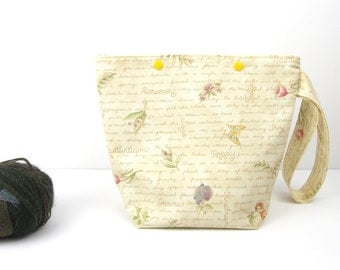 Botanical knitting bag, project bag with flowers, flora snap knitting bag, zipperless sock project storage