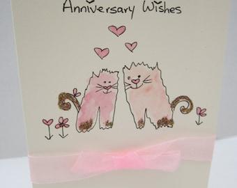 Anniversary Kittens, watercolour card, hand painted card, daughter card, son card, anniversary card, cats card, handmade card, personalise