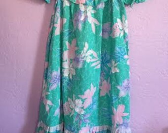 Vintage Girl's Size Hawaiian Muumuu Dress. Vintage Turquoise Tropical Dress. Hibiscus Muumuu. Vintage Tropical Print Dress w/ Eyelet Yoke.
