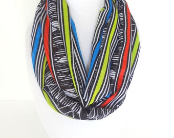 Tribal Infinity Scarf, Colorful Scarf, Printed scarf, Aztec Scarf, Spring Scarf