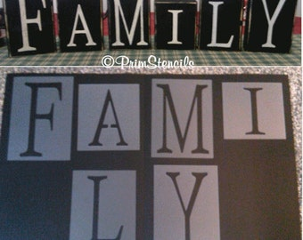 Primitive Family Sign Blocks Stencils