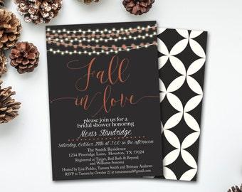 Fall Bridal Shower Invitation, Fall in Love Invitation, Fall in Love Bridal Shower Invitation INSTANT DOWNLOAD, DIY Invitation