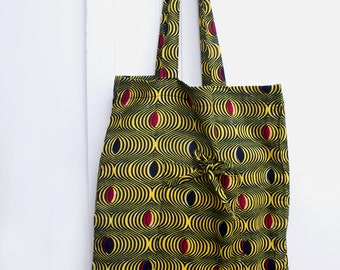 Shopping bag, reusable shopping bag, market bag or a tote bag, folding pouch, with graphic yellow and black