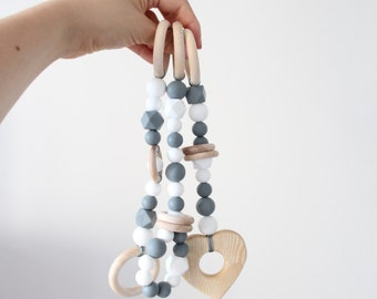 Baby gym toy set of 3 / Teething toy for newborn / Stylish and natural / Hanging toy set