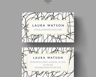 Quirky Calling Card Design, Creative Business Card Template, Modern and original Name Card, Contact Card, Whismical lines, Doodle pattern