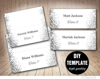 Elegant Wedding Placecards, Grey Place cards,Silver Placecard Template, Silver Wedding Place cards Printable, Confetti Wedding
