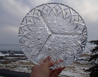 "Lead Crystal Three Part Relish Tray, 9"" diameter"