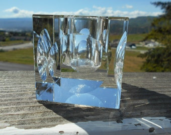 """Oleg Cassini Crystal Votive Candle Holder, Square with Circles on Sides, 2-5/8"""" x 2-5/8"""" x 2-5/8"""", Signed"""