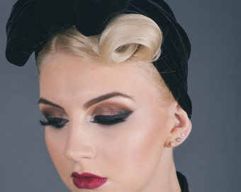Lucille Velvet Turban Bow Headband in Black Velvet