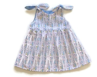 BABY DRESSES, blue feather dress, size 3m 6m 12m 18m 2T, Michael Miller fabric, baby girls blue dress, baby summer dress, cotton baby dress