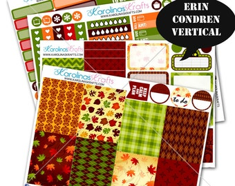 Fall Stickers, Fall Planner Kit 200+ Autumn Planner Stickers, for Erin Condren Sticker, October Planner Stickers #SQ00220-ECV