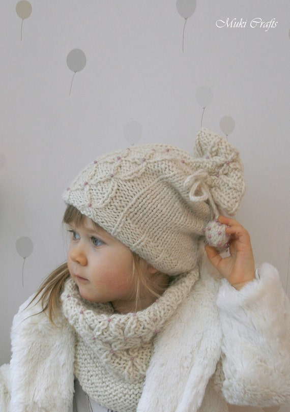 KNITTING PATTERN girls hat and cowl set Betty with false cables and beads (toddler, child, woman sizes)