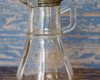 Hazel Atlas Clear Syrup Pitcher with Metal Lid