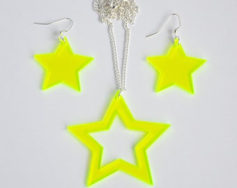 Bright neon green laser cut acrylic star statement earrings and necklace set // other color options available
