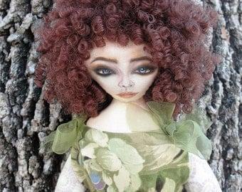 Cloth doll, Handmade cloth doll, Handmade Doll with curly hair