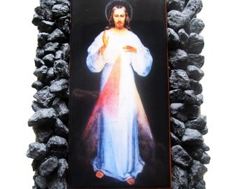 Jesus Christ - Divine Mercy Jesus - collectible home altar - clay tile and lava stones - OOAK - catholic gift idea holy art  religious gifts