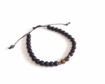 Men's Bracelet Black 8mm Tiger Eye and matte black beads, men beaded bracelet stone friendship bracelet Pulseras de hombre ajustable