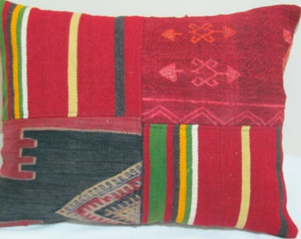 "Turkish patchwork Kilim Pillow cover 17""x21,6"""