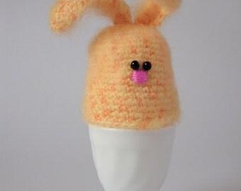 Crochet Yellow Bunny Egg Warmer - Egg Cozy - Egg Hat - Crochet Egg Warmer - Handmade Decor - Easter Decor - Easter Bunny - Crochet Bunny