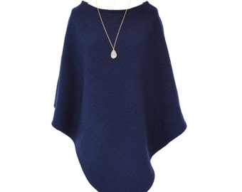 Women's Poncho, Navy Wool Poncho, Wool Wrap, Poncho Sweater, Wool Shawl, Pure Wool Sweater