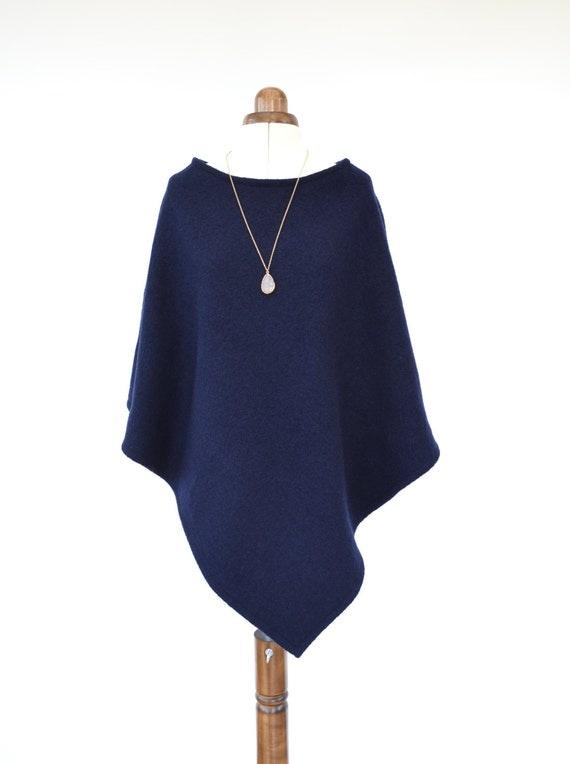Women's Poncho, Navy Wool Poncho, Wool Wrap, Poncho Sweater, Wool Shawl, Pure Wool Sweater