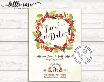Christmas Save the Date - Holiday Wedding Save the Date Card - Holiday Party Save the Date - Printable - DIY - Customizable - LR1065