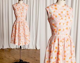 Say It Ain't So dress   vintage 60s dress   1960s floral dress   vintage summer dress   pink / orange flower print   sleeveless 60s dress