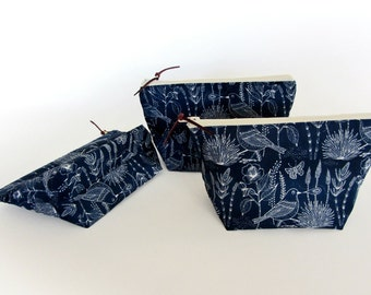 Bridesmaid gift, make up pouch set, cosmetic pouch, navy blue zipper pouch, makeup pouch, organic cotton birds print, set of 3