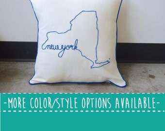 New York State Embroidered  Decorative Throw Pillow Cover, United States New York City NYC Gift