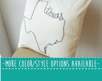 Texas State Embroidered  Decorative Throw Pillow Cover, United States Dallas Houston Austin Gift