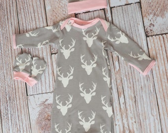 Woodland Deer Baby Gown, Mitts, and Hat Baby Shower Gift/ Hunting Baby Gown/ Deer/Buck Baby Gown