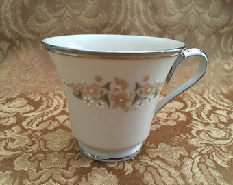 Lenox Fresh Meadow Cup, Fine Ivory Porcelain, Platinum Banding, Floral Footed Teacup, No Saucer, 1980s, USA, Lenox China