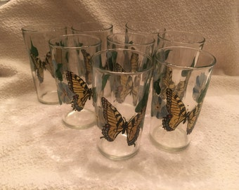 Hand Painted Butterfly Glasses,  Butterfly Tumblers, 8 oz glasses,Butterfly Patterned Glassware,Butterflies, Monarch Butterfly Glasses,1960s