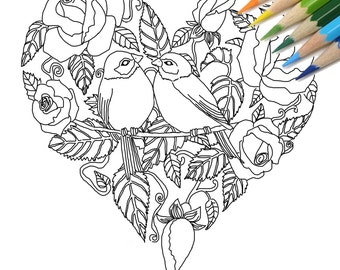 Rose Heart With Birds DIY Print At Home Digital Download Colouring Page Adult