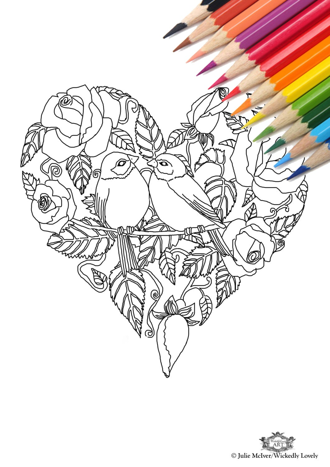 rose heart with birds diy print at home digital download