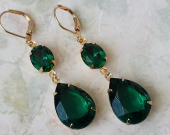 Emerald Teardrop Earrings Bridesmaid Jewelry Gifts Emerald Earrings Emerald Teardrop Earrings Gift for Her Rhinestone Earrings