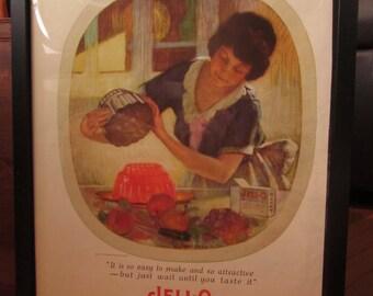 1924 Jello Advertising Print - Great Kitchen or restaurant decor - Framed for Display
