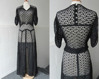 Black 30s 40s Sheer Vintage Maxi Dress // Lace With Flowers