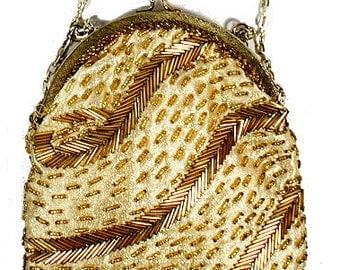 """1950s Vintage Fine Arts Bags Gold Glass 7 1/2"""" Beaded Purse"""