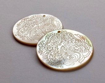 Mother of Pearl Hand etched Round Pendants 40 mm  (2) Vintage Japan~ BEAUTIES !