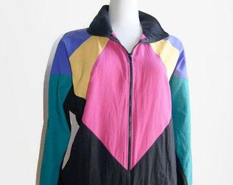 Vintage Teddi Sport Petite Jacket Multi-Color Women's Retro Coat 1980s