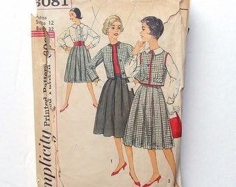 Vintage Sewing Pattern - 1959 Simplicity Blouse, Skirt & Jacket Pattern #3081 - Size 12 (Bust 32)